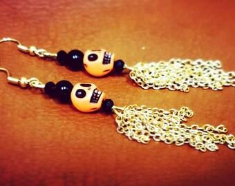 Halloween earrings, skull earrings, Pumpkin earrings, Halloween costume, Halloween jewelry, Dangle earrings, Jack o lantern, halloween gift