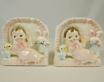 Rubens 1950s Ceramic Baby Girl Twins Planters Pink Gown Bunny and Duck Japan Set of 2 Gender Reveal Nursery Decor Baby Shower Decor