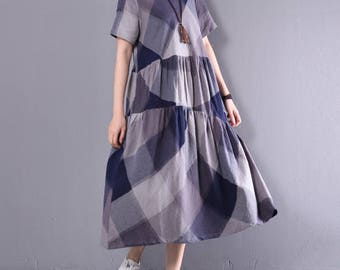 Women summer dress plaid dress cotton dress, comfortable dress asymmetrical tunic dress leisure dress pleated dress maxi dress