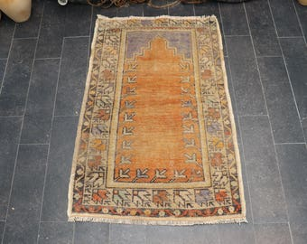 Turkish Rug, Vintage Rug, Decorative Faded Rug, Free Shipping 2.1 x 3.3 Handmade Area Rug, Ethnic Rug, Pale Color Rug, Boho Rug No 1117