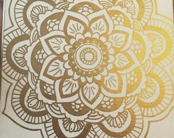 Gold Mandala on White Canvas