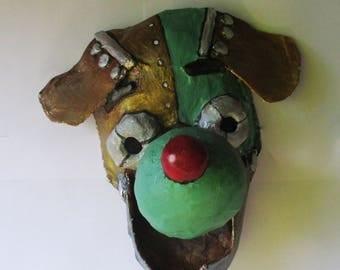 Robot Dog Mask, dog mask, mask, robot, paper mache, wearable
