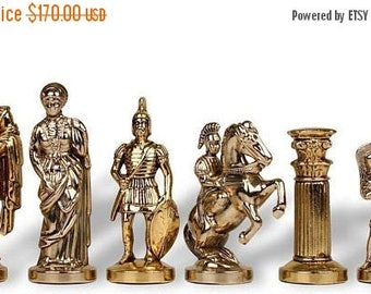 For Sale Archers Large Chess Set - Gold-Silver - Handmade in Greece