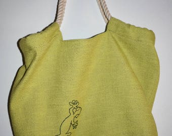 Handmade Fabric Tote Bag with Gecko