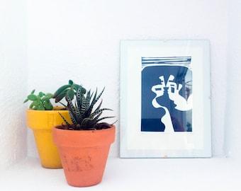 A Kiss - Linocut Prints