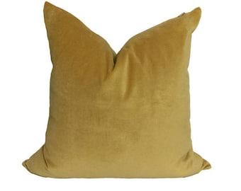 """Belgium Cotton Velvet Pillow Cover - Gold Velvet Pillow Cover - 18x18"""" - Brass Zipper"""