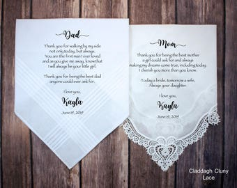 Mother of the Bride Gift & Father of the Bride Gift from the Bride, wedding handkerchief from daughter, custom printed, mother of bride gift