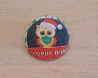 1 button x 28mm ref A35 Christmas OWL fabric