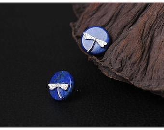 Silver earrings, dragonfly earrings, lapis dragonfly earrings, sterling silver dragonfly earrings