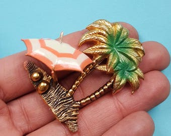 Novelty palm tree vintage brooch - More colours