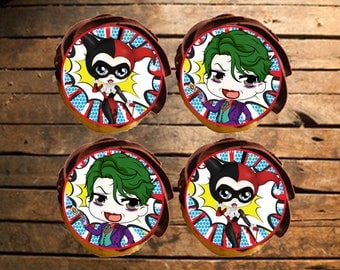 Harley Quinn & The Joker Edible Cupcake Toppers