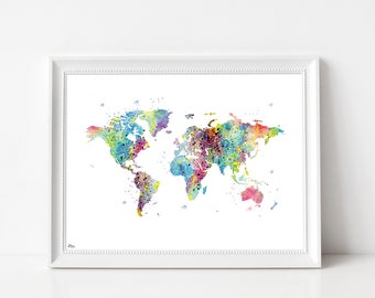 Map art, watercolor world map, Earth art print, map poster, wedding gift