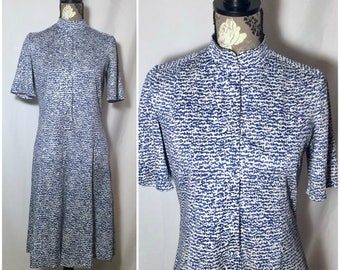 Vintage 1960s Blue Composition Notebook Marble Dress // M-L