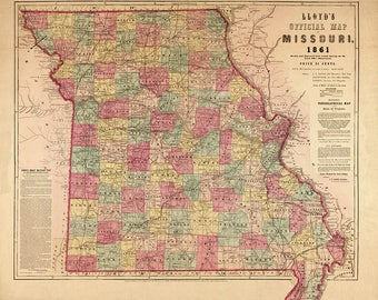1861 Map of The State of Missouri