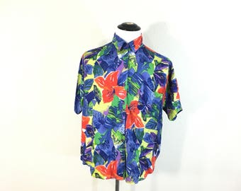 80's vinvage rayon all over print shirt flower print size L