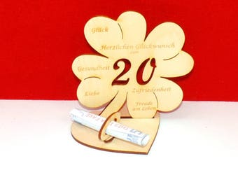 Cloverleaf for 20,21 or 25 birthdays or wedding day with congratulations and bank note holder