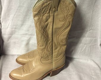 1990's, Acme Tan/Beige Country Western Style Boots, Gently Worn, Size 6
