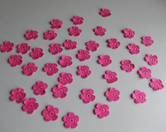 Wholesale Lot of 40 crochet cotton flowers handmade for scrapbooking