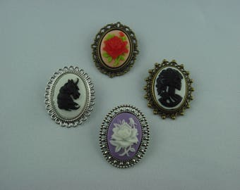model in mind vintage small brooch with flower cameo, Unicorn or skull