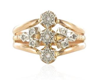 Bague ancienne or rose diamants taillés en rose