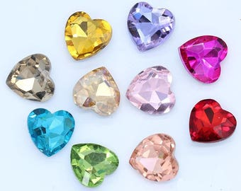 Heart Shape Pointed Back Glass Crystal Rhinestones 10mm 12mm 14mm 16mm 18mm 27mm pointback loose glass rhinestones crystals beads