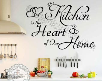 Kitchen Is The Heart Of Our Home Quote Family Wall Sticker Dining Room Art Decor