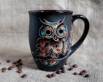 Large ceramic mug Coffee mug Owl Gift for men Gift for him Sister gift 16 oz mug Eagle-owl Husband gift Mother daughter Office mug Boss mug