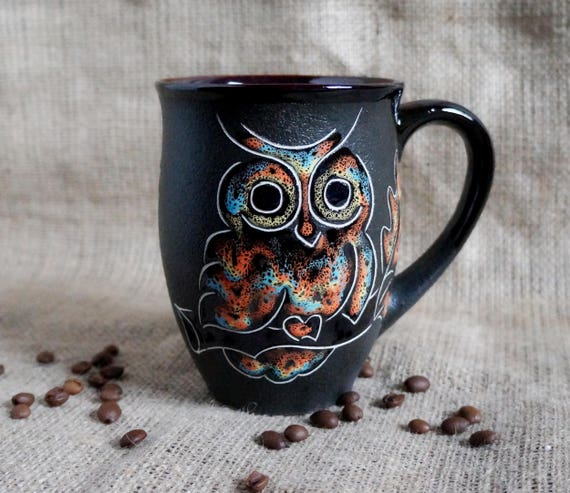Large ceramic mug Coffee mug Owl Gift for men Gift for him Sister gift 16 oz mug Eagle-owl Husband gift Mother daughter Office mug Boss mug