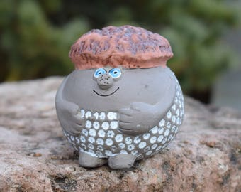 Jie Gantofta Sweden Vintage Pottery Ceramics Troll Leprechaun Figurine, Statue. Design by Annika Kihlman. Swedish Retro. Home Decor