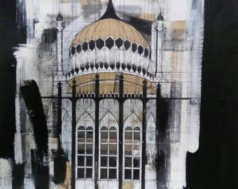 Original Artwork Brighton Pavilion Painting Canvas