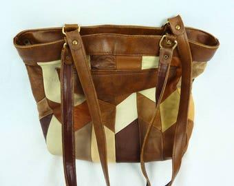 Leather Messenger bag - vintage - Tote leather bag - shoulder bag - vintage 80's - Patchwork leather - brown leather bag