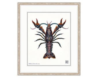 "Crayfish Giclee Print of Watercolor Painting 8""x10"" for the Marine Life Lover. Crawfish & Crawdaddy Fans. Adorable Bait. Clam Bake. Fishing."