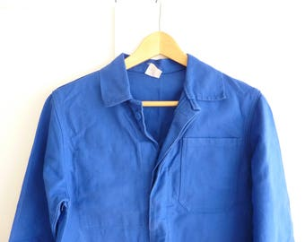 Vintage French blue sanforised chore jacket, workwear, new deadstock. size S/M.