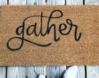 gather welcome mat || customizable || hand lettered doormat || hand painted doormat || wedding gift || housewarming gift