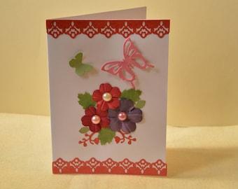 Floral card, Butterfly card, Handmade card