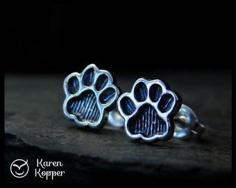 Paw print earrings, sterling silver 0.925, cat paw, dog paw, bear paw. Stud earrings, post earrings, 134