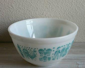 Pyrex Butterprint Bowl Nesting Bowl, Pyrex Cinderella Turquoise, Pyrex Mixing Bowl, Batter Bowl, Amish, Cottage Chic Oven Ware