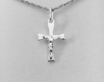 "Sterling Silver Crucifix, small dainty crucifix, ladies layering necklace, child's crucifix, 7/8"" cross with a 13 1/2"" Sterling Silver chain"