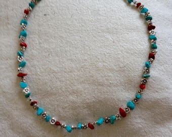 TIBETAN SILVER NECKLACE, CORAL AND TURQUOISE