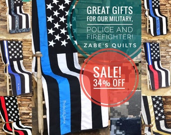 SALE - Thin Line Quilts - Police Quilt - Firefighter Quilt - Military Quilt - Police Dispatcher Quilt - Emt Quilt - Limited - Christmas