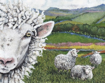 """Funny Sheep Selfie Watercolor Print, """"Dangit Ethel,"""" 8x10"""" and matted in arctic white with backing"""