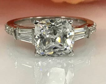 3.00ctw Cushion Cut Simulated Diamond Engagement Ring with Baguettes and Simulated Diamonds In 14k White Gold  #5145