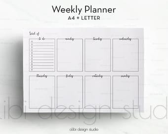 Weekly Planner, To Do List, Weekly Schedule, A4 Printable, Weekly Printable, Printable Planner, Daily Planner, Weekly Calendar, Letter
