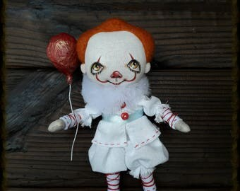Textile doll Pennywise the Dancing Clown IT Art Poster Stephen King Horror textile doll