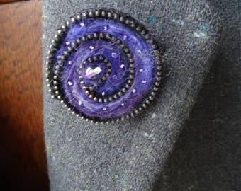Handmade needle felted purple rose