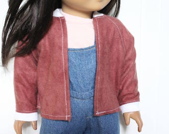 Mauve Bomber Jacket for Dolls - Fits American Girl Doll