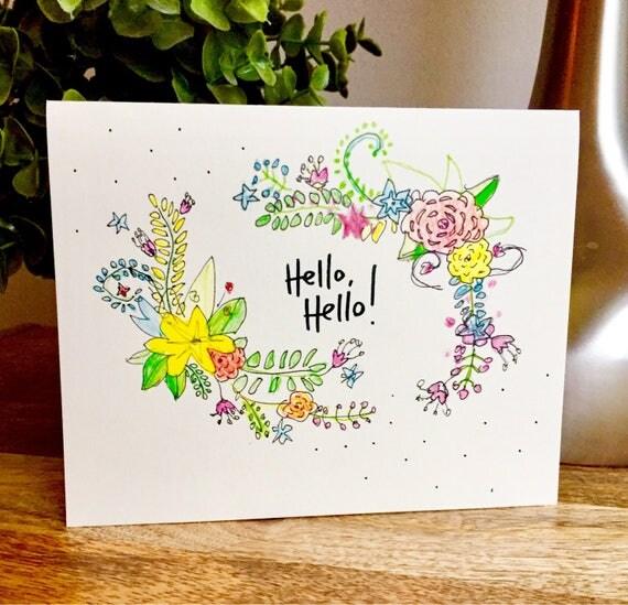 handmade hello card, hello stationery, hello card, sidesandwich, flower card, missing you card