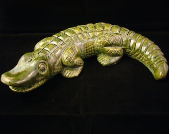Small green crocodile in enamelled stoneware