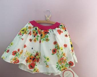 Sommerlicher Rock 116 122 128 60er 70er Blumen Kinderrock Kinderkleidung vintage  skirt rok retro Sommerrock upcycling