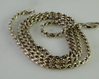 "Sterling Rope Chain 34"" 1/8"" wide"